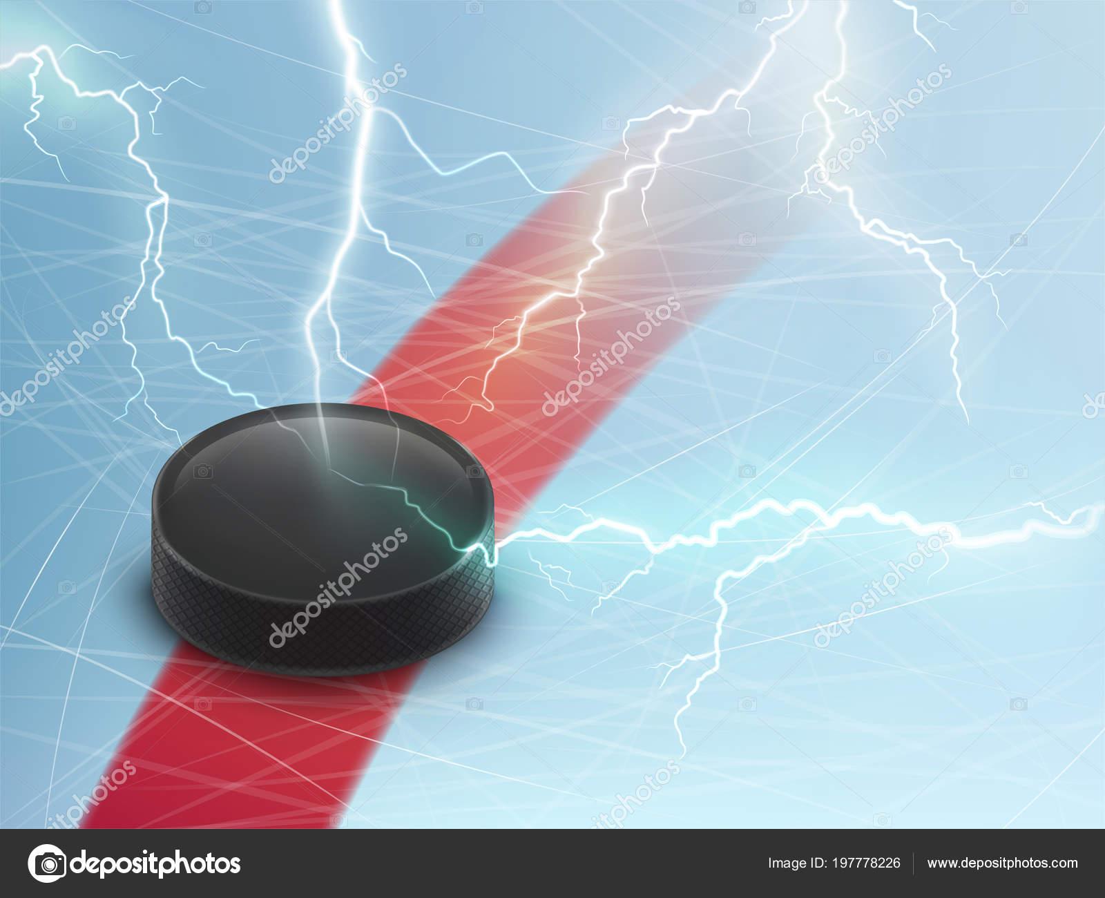 Bandera de vector del hockey sobre hielo con puck y relámpagos ...