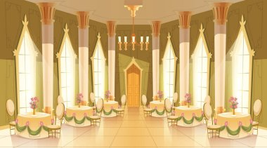 Vector cartoon castle hall, ballroom for dancing