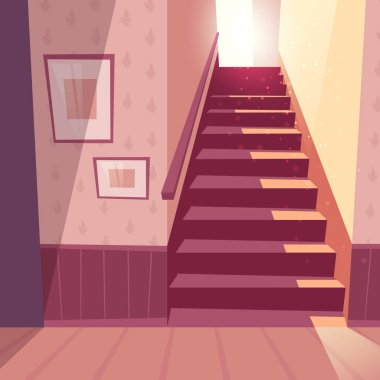 Vector background of staircase, stairs in house