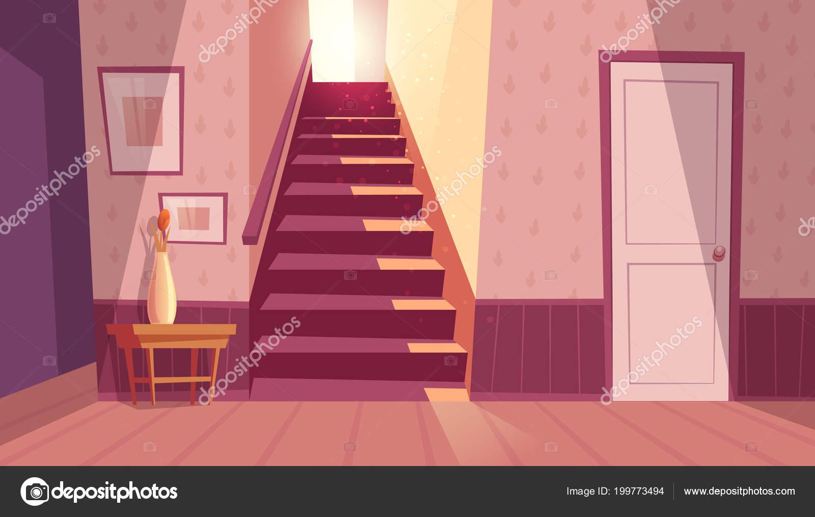 Escalier Dans La Maison intérieur de vecteur avec escalier, escalier dans la maison