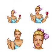 Vektor Set weiblicher Avatare im Pop-Art-Stil