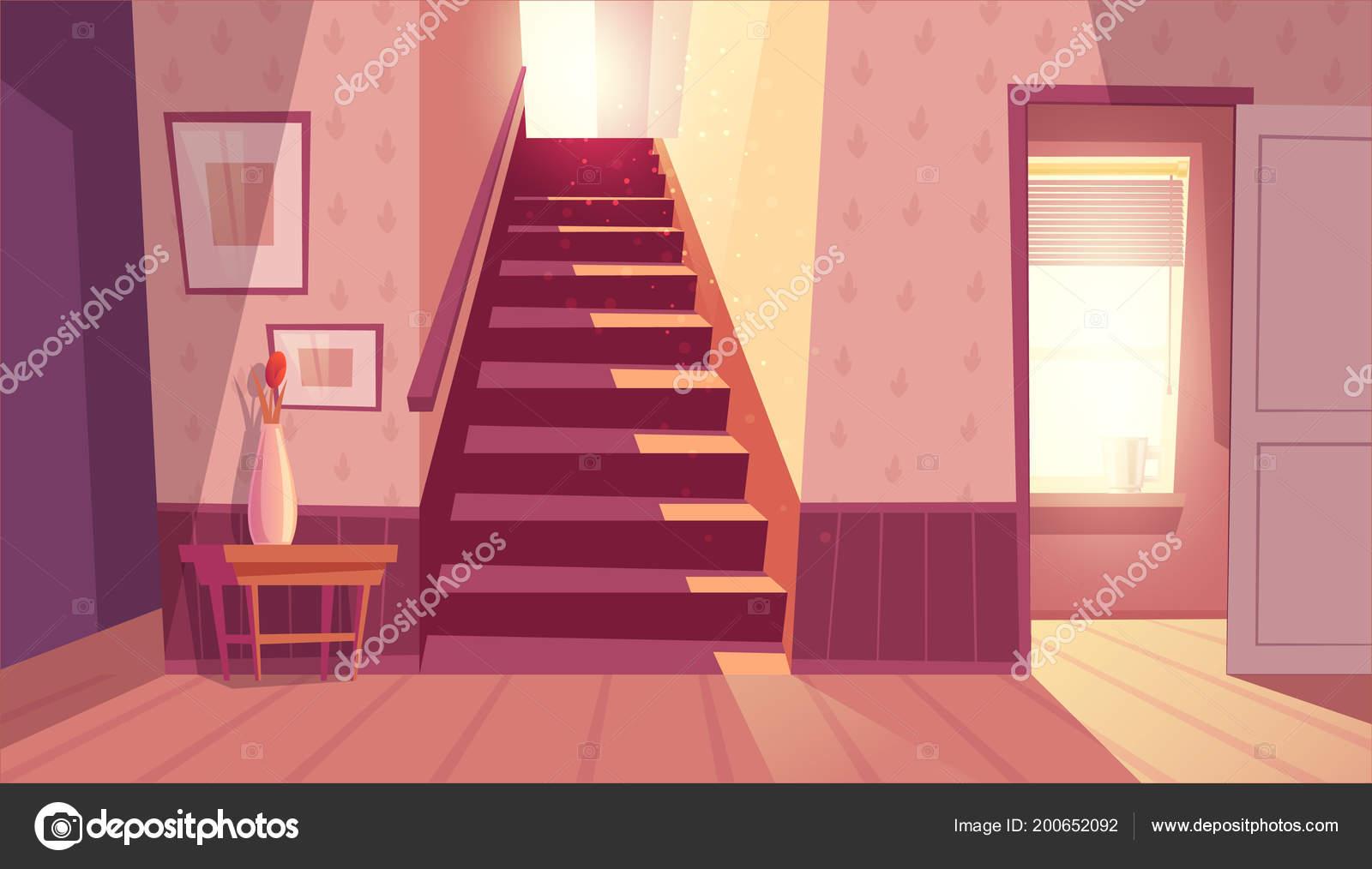 Vector interieur met trap trap in huis u stockvector