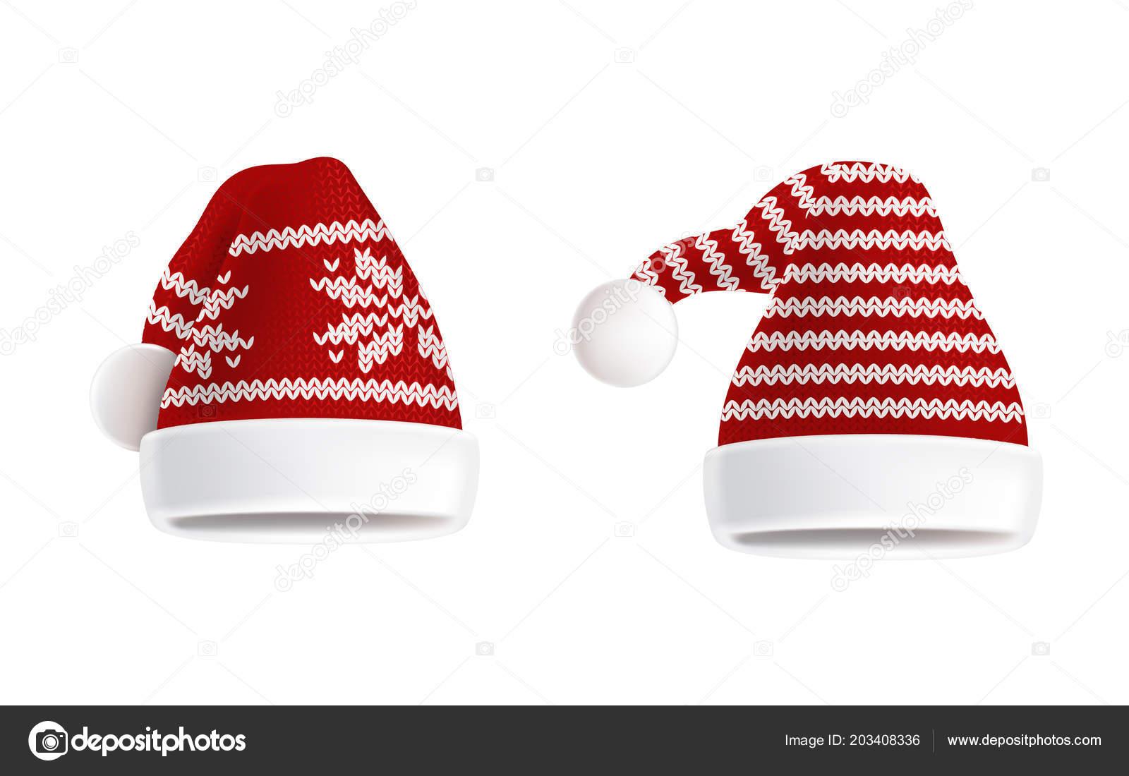 Vector conjunto de sombreros hechos punto dos de la santa con el ...