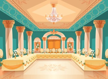 Vector hall for banquet, interior of ballroom