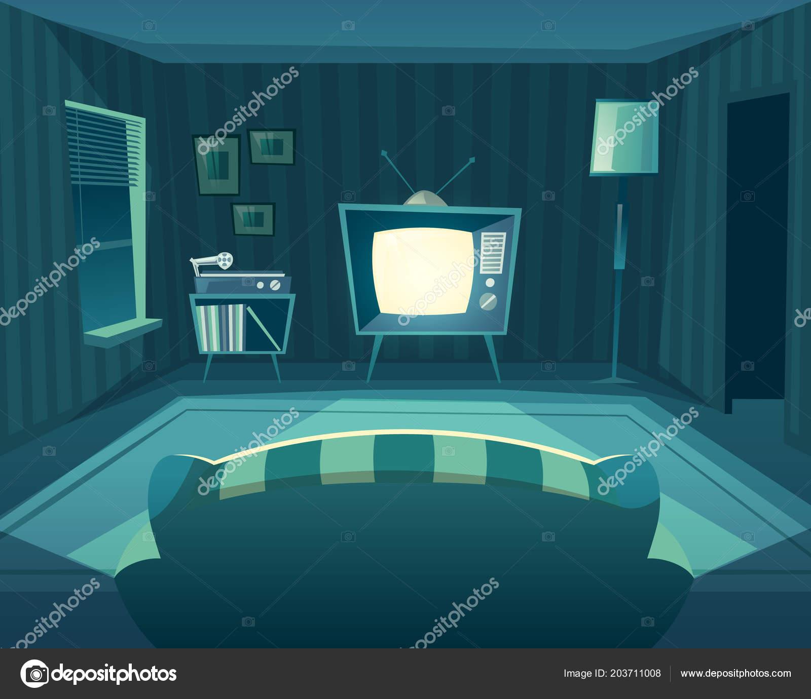 Cartoon Living Room: Vector Cartoon Living Room At Night, Interior