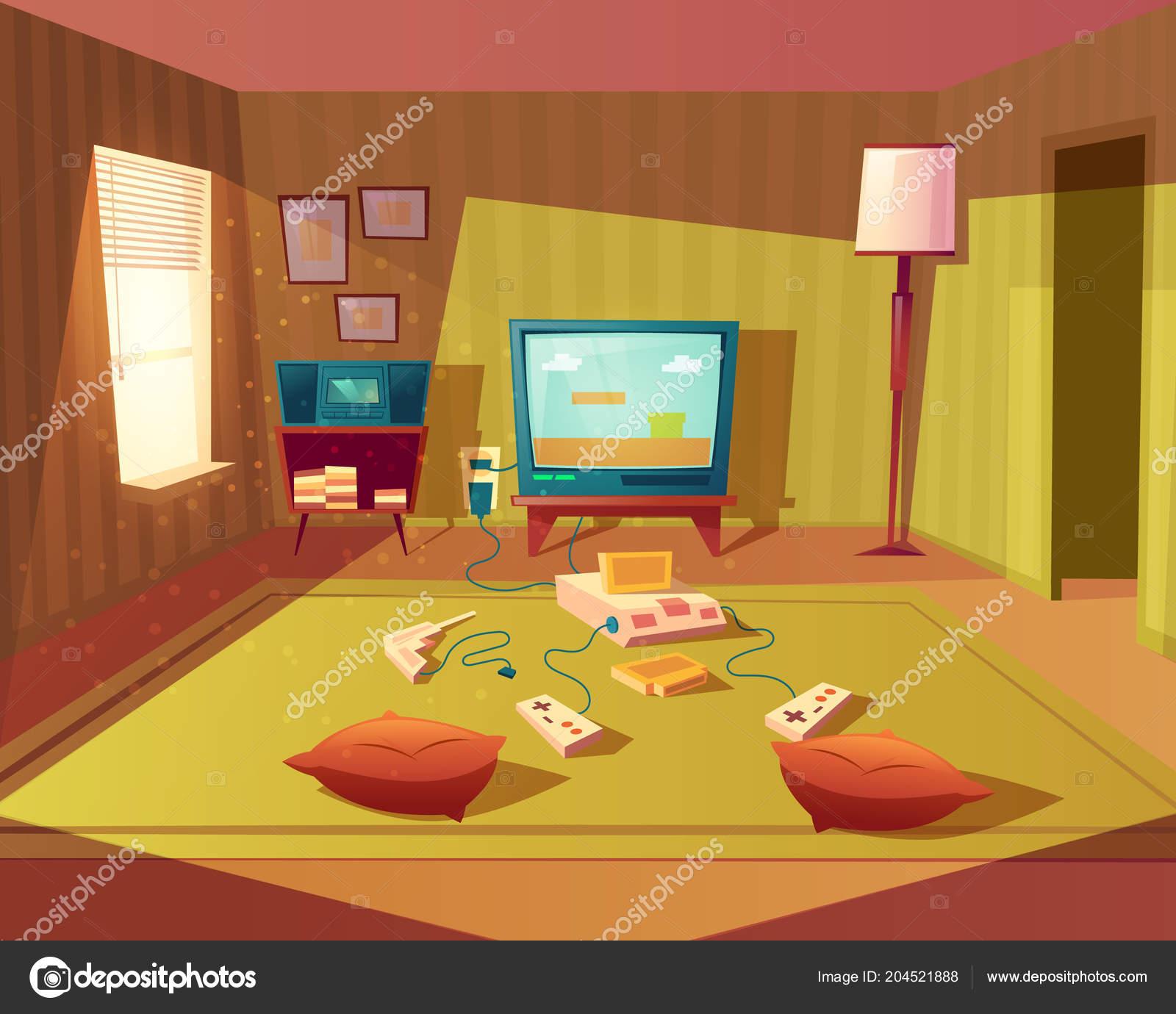 Interior De Dibujos Animados Vector De Sala De Juegos Para Ninos - Sala-juegos-nios