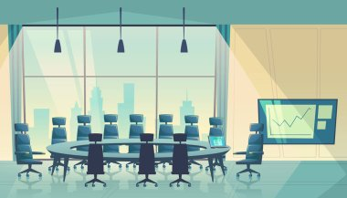 Vector conference hall for business, cartoon boardroom
