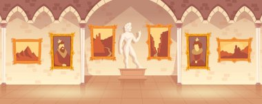 Vector museum exhibition of paintings on walls and antique statue, art gallery in medieval palace. Empty castle hall or ballroom with collection of pictures, interior inside. Cartoon game background