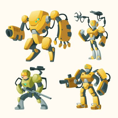 Vector set with androids, robots, cyborg humanoids