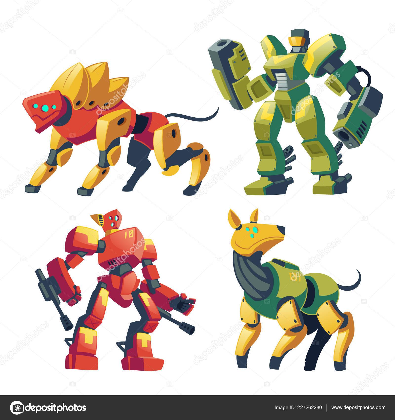 Vector cartoon robot guards, futuristic battle androids Stock ...