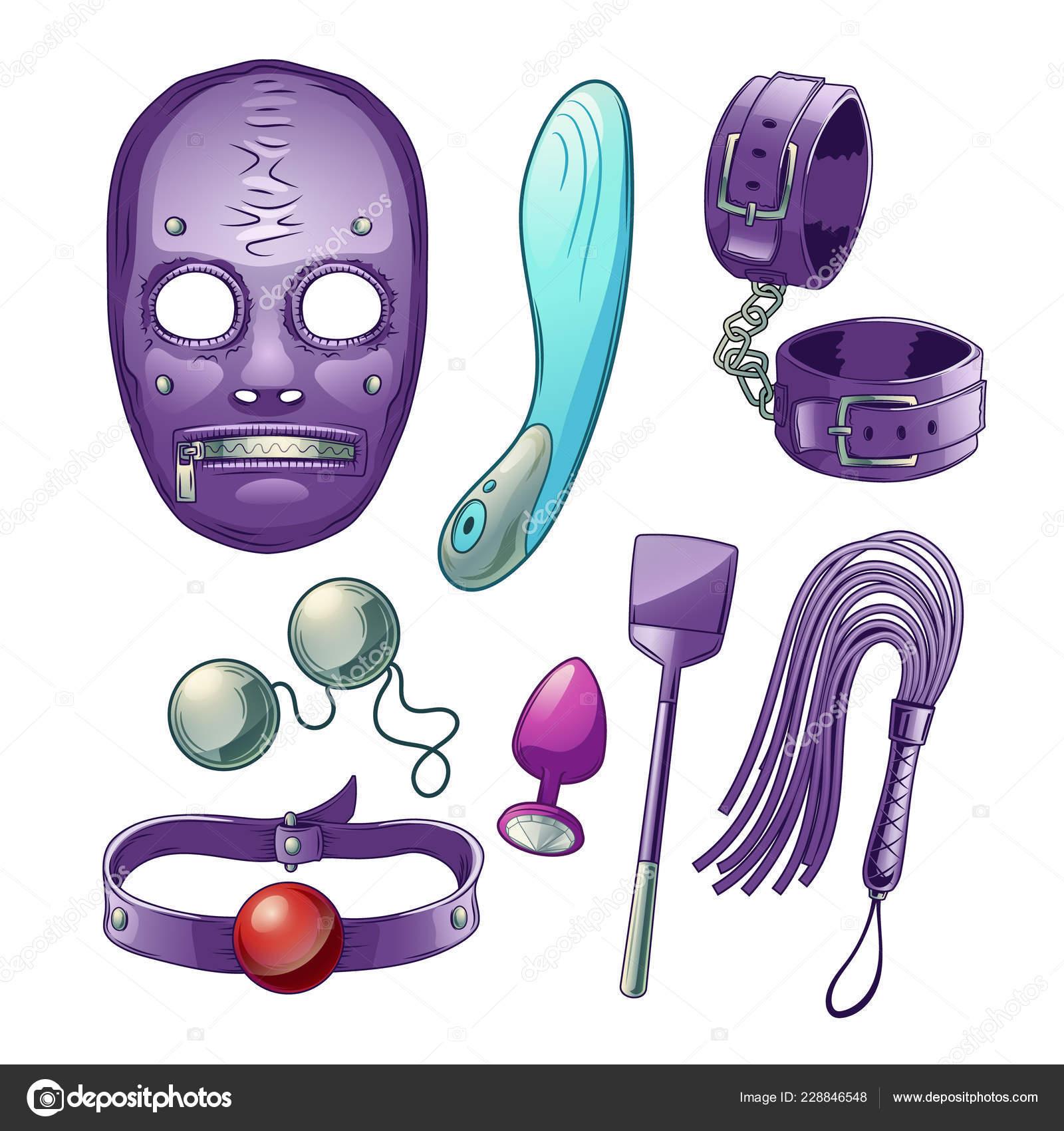 7b4186099dd0 Juguetes sexuales de adultos, accesorios para Bdsm papel juego de dibujos  animados vector con consolador o vibrador, mascarilla de látex, esposas de  cuero y ...