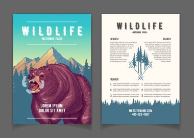 National park nature attractions vector booklet