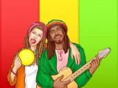 Vektor Pop Art rastafarisches Paar - Mann, Frau