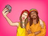 Vektor Pop Art rastafarisches Paar macht Selfie