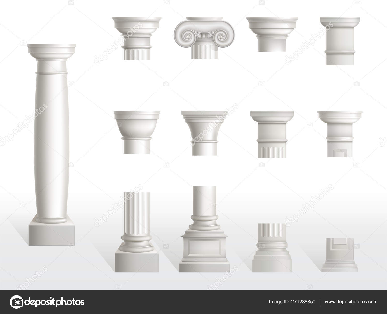 Parts Of A Column >> Parts Of Ancient Column Base Shaft And Capital Stock Vector