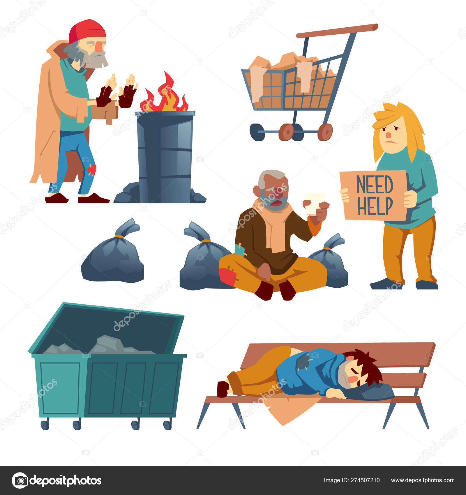 Homeless beggars cartoon vector characters set 10