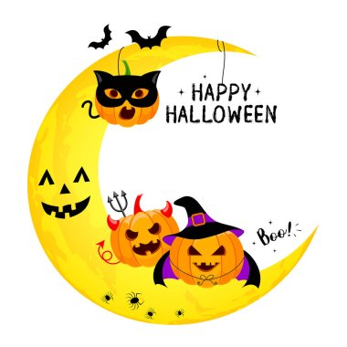 Funny cute cartoon pumpkin character. Happy Halloween day concept. Design for banner, poster, greeting card. Illustration.