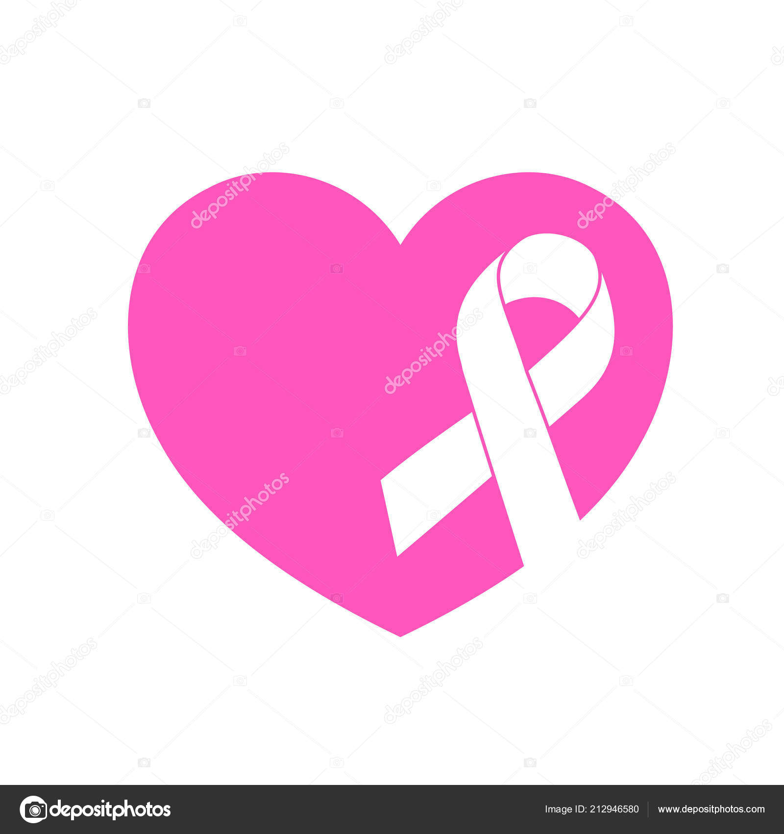 5fb25bb4f2b Ribbon Symbol Pink Heart Breast Cancer Awareness Month Campaign Icon ...