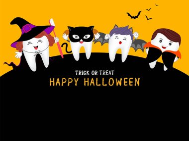 Family cute cartoon tooth character as witch, Dracula, black cat and bat in moon night, happy Halloween concept. Design for banner, poster, greeting card. Illustration.