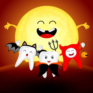 Funny cute cartoon tooth character. Dracula, devil, and bat in moon night, happy Halloween concept. Design for banner, poster, greeting card. Illustration.