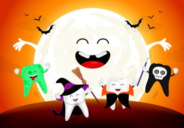 Funny cute cartoon tooth character. witch, zombie, Dracula and ghost in moon night, happy Halloween concept. Design for banner, poster, greeting card. Illustration.