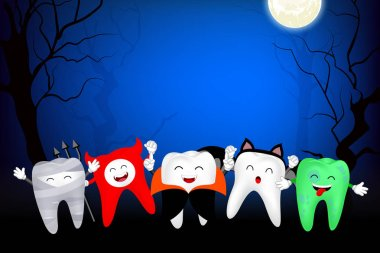 Funny cute cartoon tooth character. Mummy, Devil, Dracula, bat and zombie in moon night. Happy Halloween concept. Design for banner, poster, greeting card. Illustration.