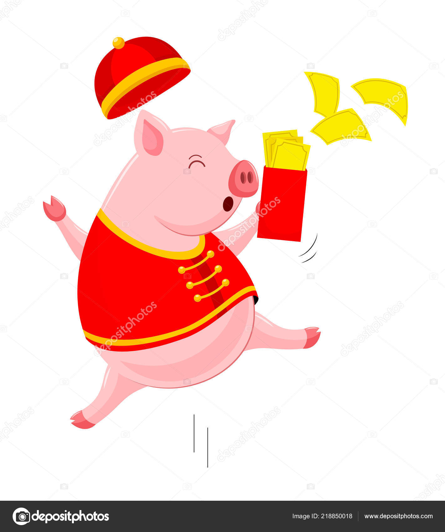 funny cartoon pig characters wearing traditional chinese costume