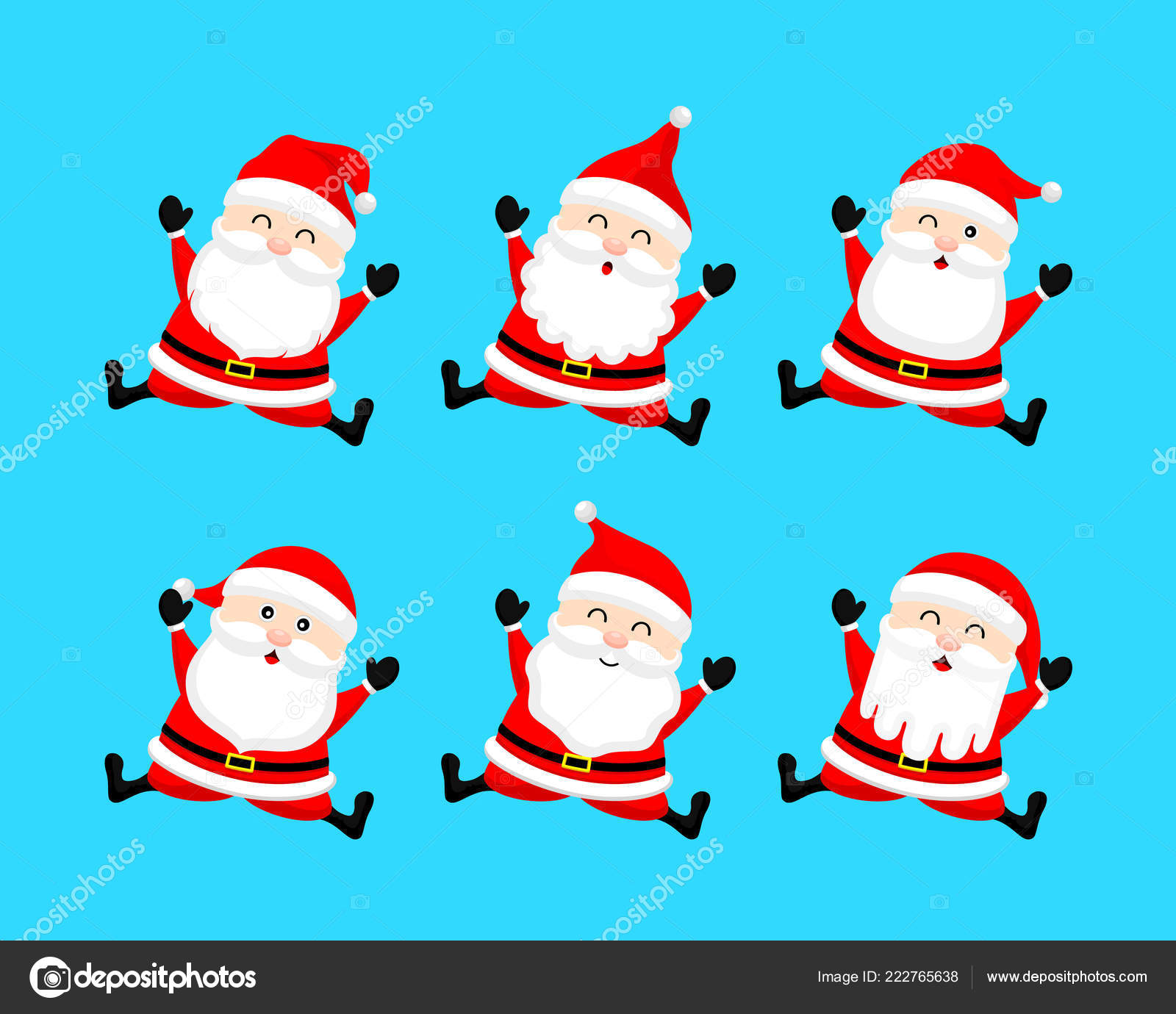 Collection Cute Cartoon Santa Claus Merry Christmas Happy New Year ...