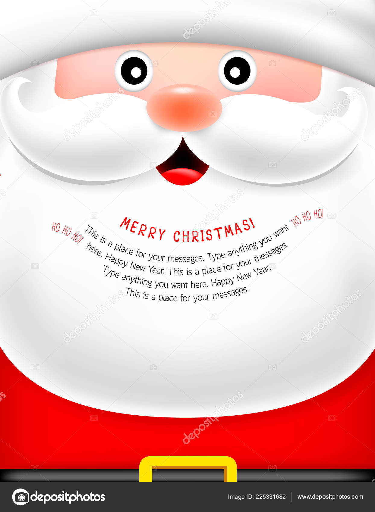 santa face beard cartoon character merry christmas happy new year stock vector