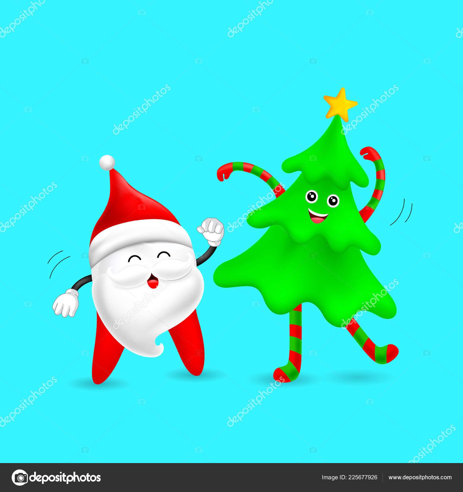 Christmas Dancing Cartoon.Cute Cartoon Santa Tooth Characters Dancing Christmas Tree