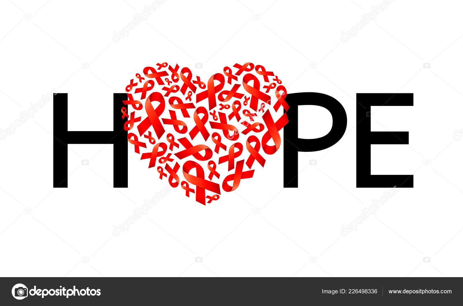 Diseño Letras Con Forma Corazón Cinta Roja Esperanza Día Mundial