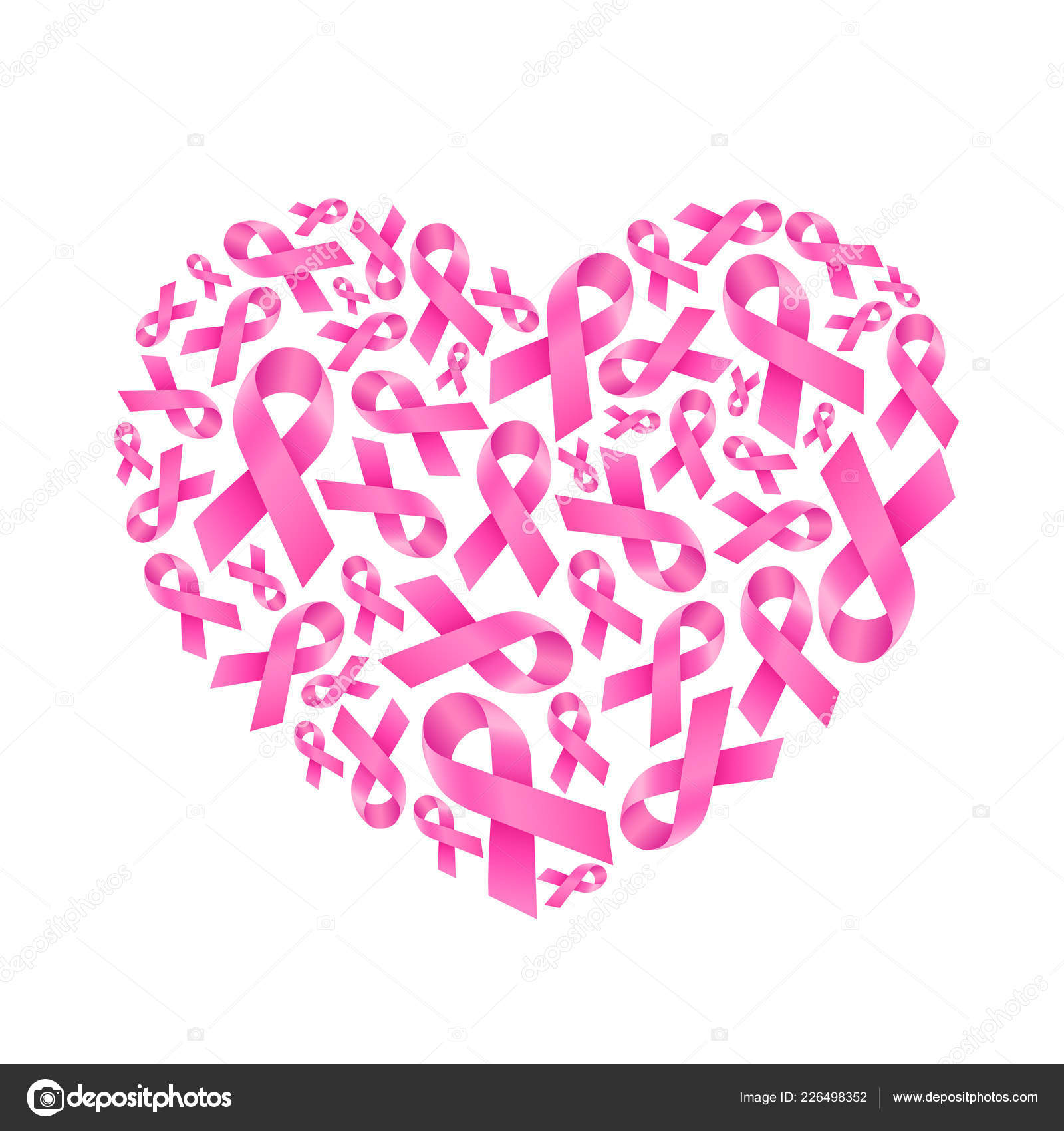 ed008056065 Pink Ribbon Fill Heart Shape Breast Cancer Awareness Icon Design ...