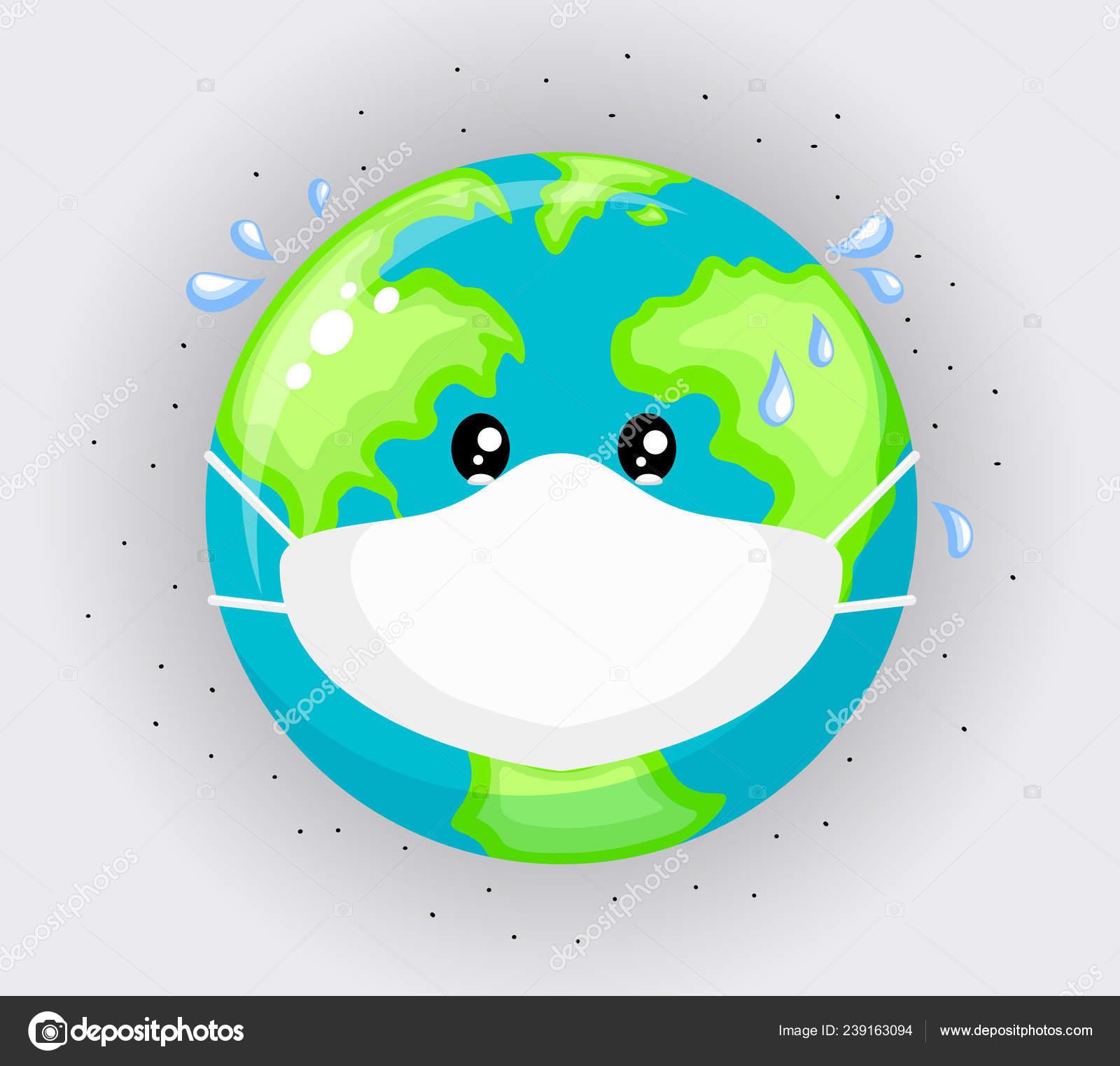 Planète Triste Terre Portant Des Masques Protection Concept