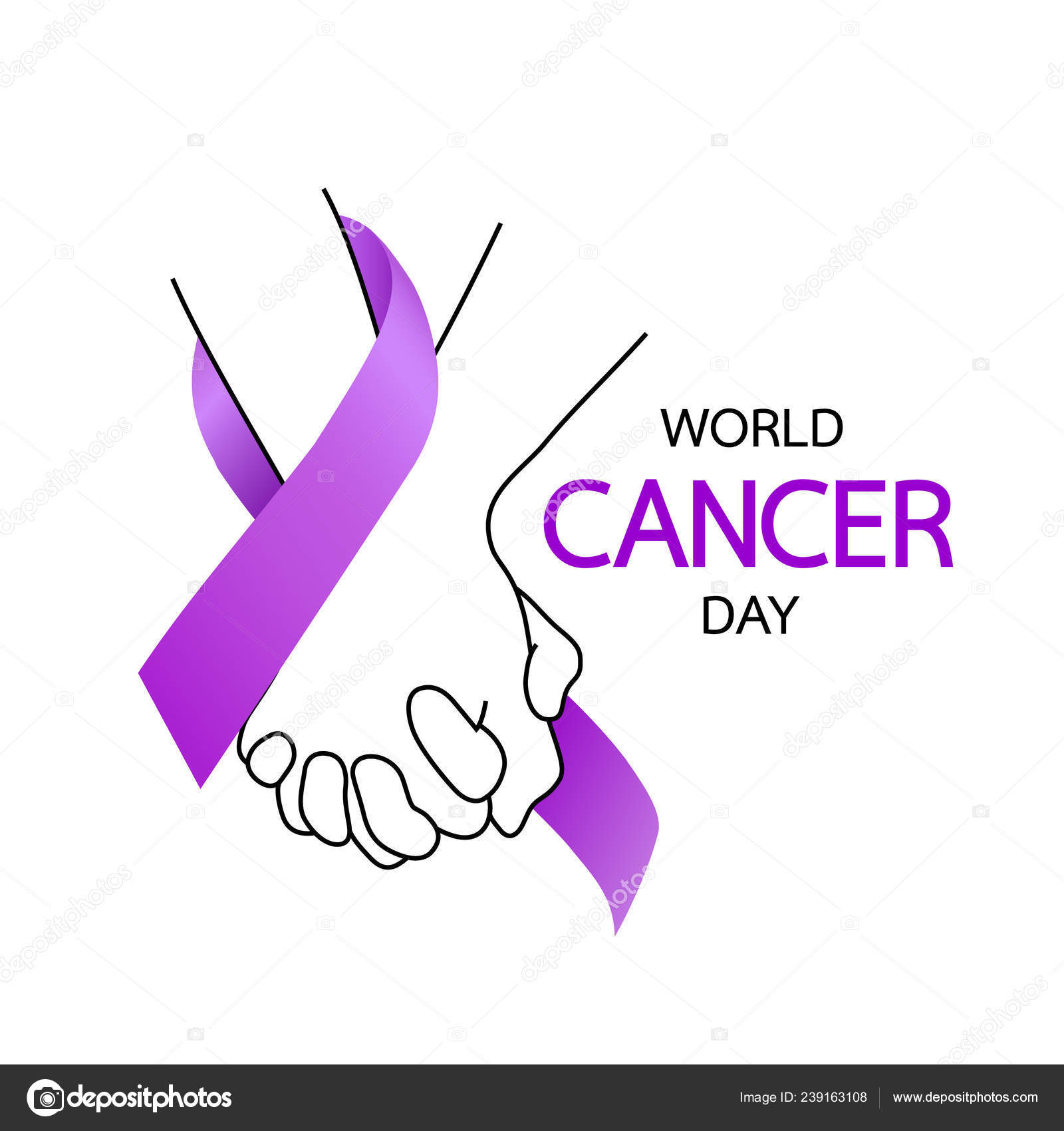 b97c9a9b28a Vector illustration isolated on white background.– stock illustration.  Hands Holding Purple Ribbons World Cancer Day Concept February Cancer — Stock  Vector