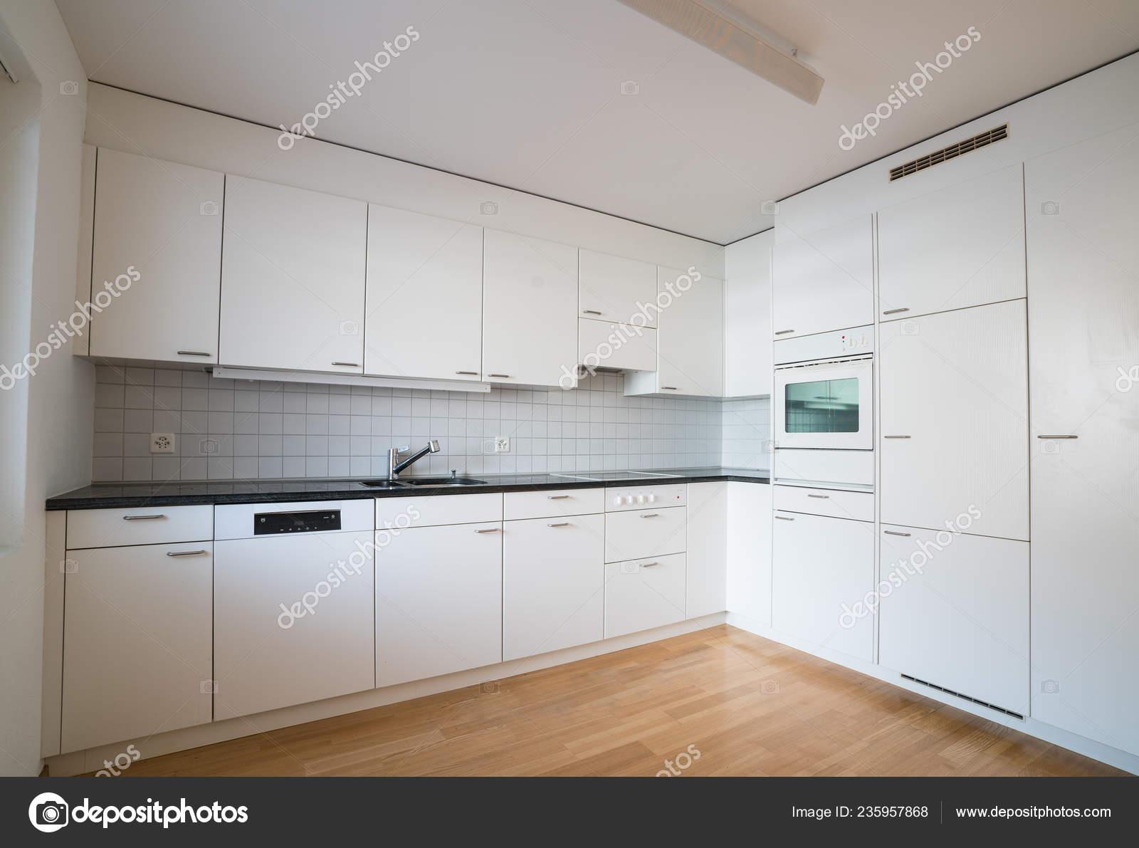 Modern Bright Kitchen Empty Refurbished Apartment Black Granite Work Surface Stock Photo C Makasanaphoto 235957868