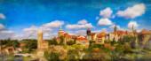 Fotografie Ein digitales Kunst-Ölgemälde einer Stadtpanorama-Ansicht der Altstadt von Bautzen in Sachsen