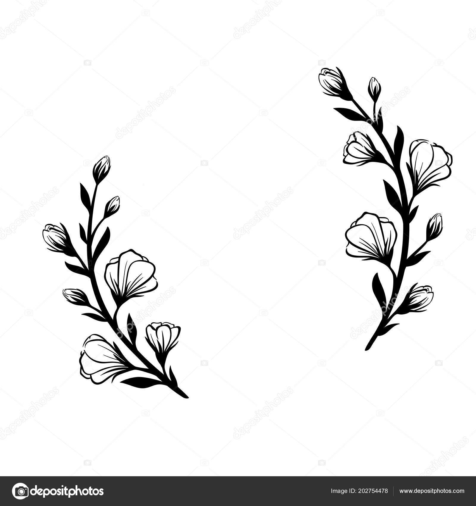 Floral frames. Unique decoration for greeting card, wedding ...