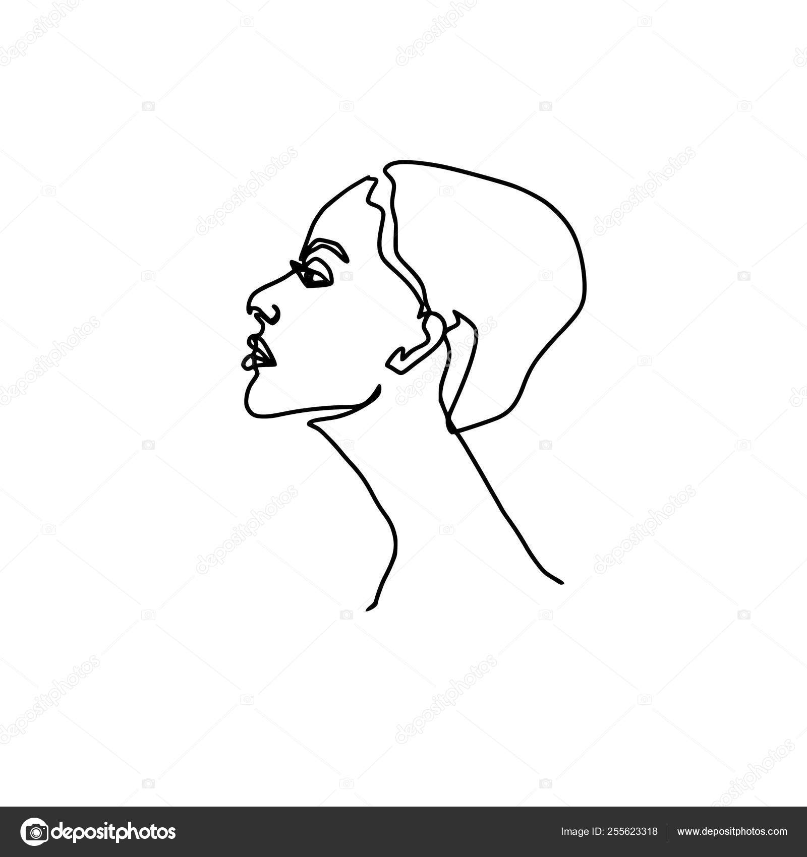 Abstract face one line drawing beauty woman portrait isolated on white minimalistic style continuous line stock illustration