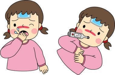 Vector of flat doodle character design illustration of a little kids has flu. icon