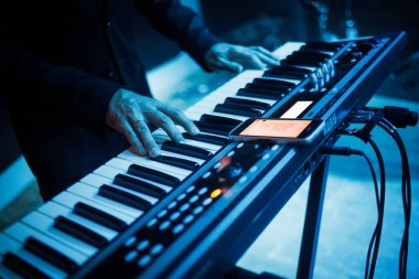 Playing on a synthesizer . Hight quality photo