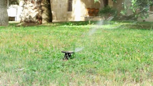 Vodní postřikovací na zeleném trávníku. Automatický zavlažovací systém zavlažování zelené trávě trávníku venkovní.