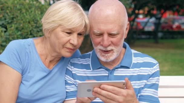 Senior couple having great time sitting on bench in park chatting relaxing, browsing in smartphone.