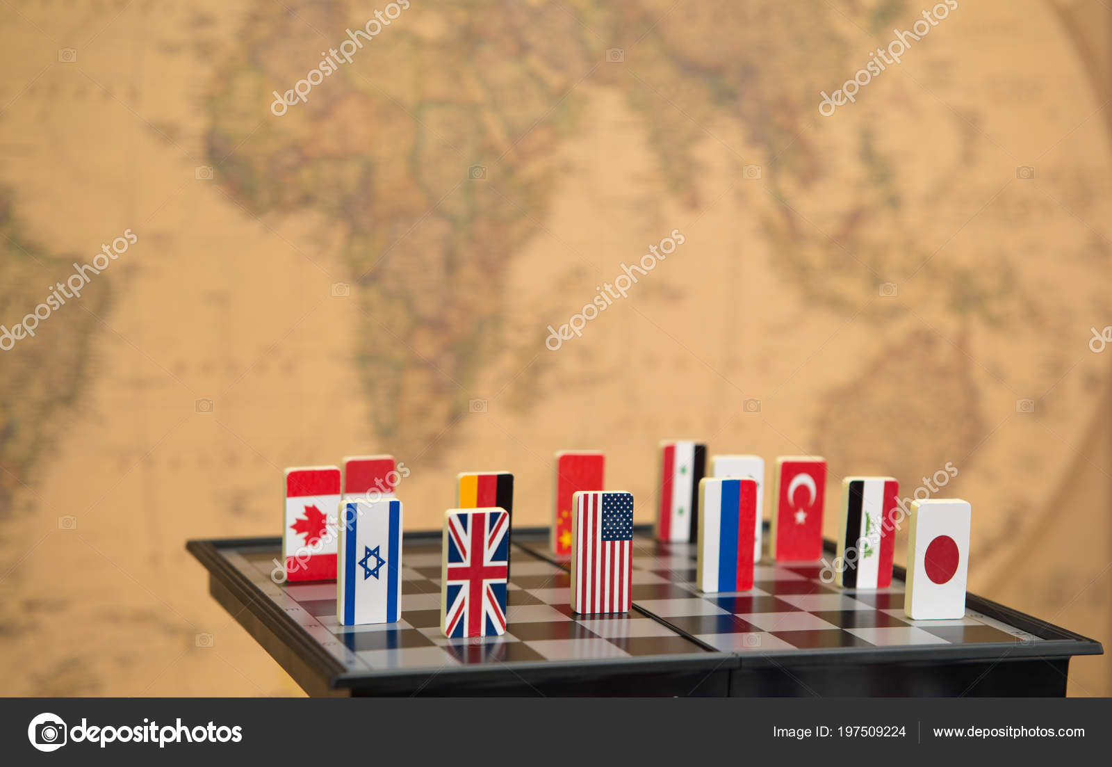 Symbols Countries Chessboard Background Political Map World ...