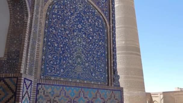 Nagy ovális torony tégla, ősi ázsiai épületek. a részleteket az építészet a középkori Közép-Ázsia