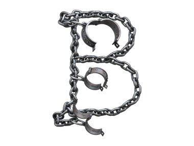 Iron arm shackles on a chain font.