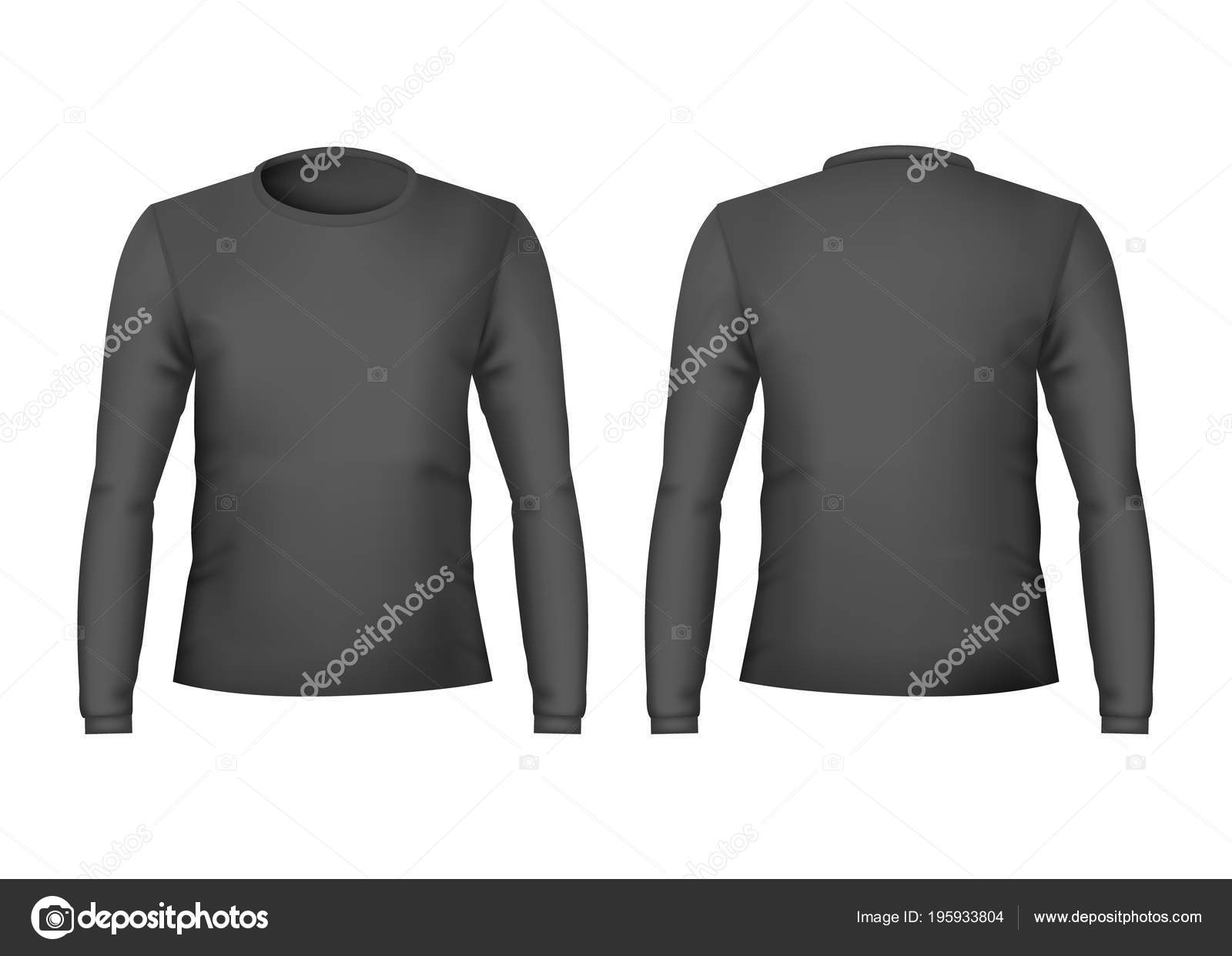 Realistic Detailed 3d Template Blank Black T Shirts Front And Back