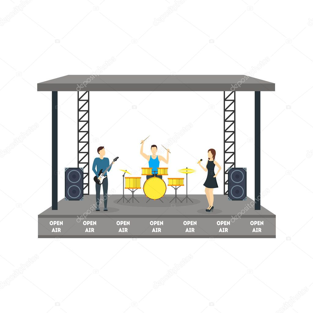Cartoon Open Air Festival Isolated on White Background. Vector