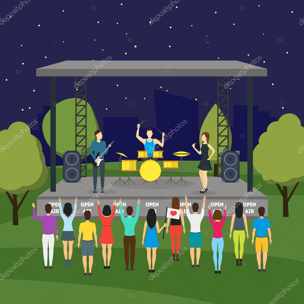 Cartoon Open Air Night Festival and Landscape Background Background Flat Design Summer Nature Scene in City Park. Vector illustration