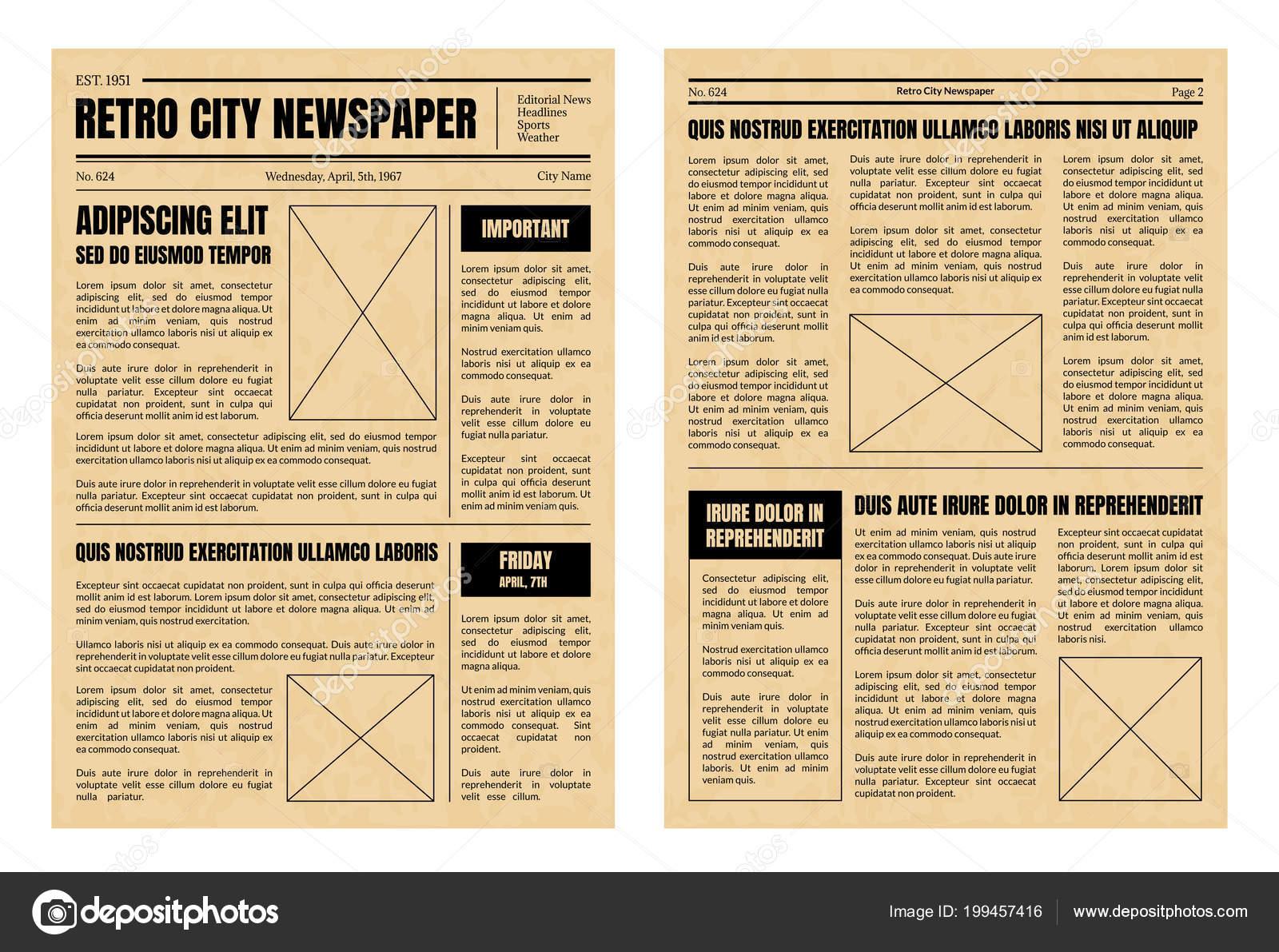 Vintage Newspaper Template Sheets Set. Vector — Stock Vector ...