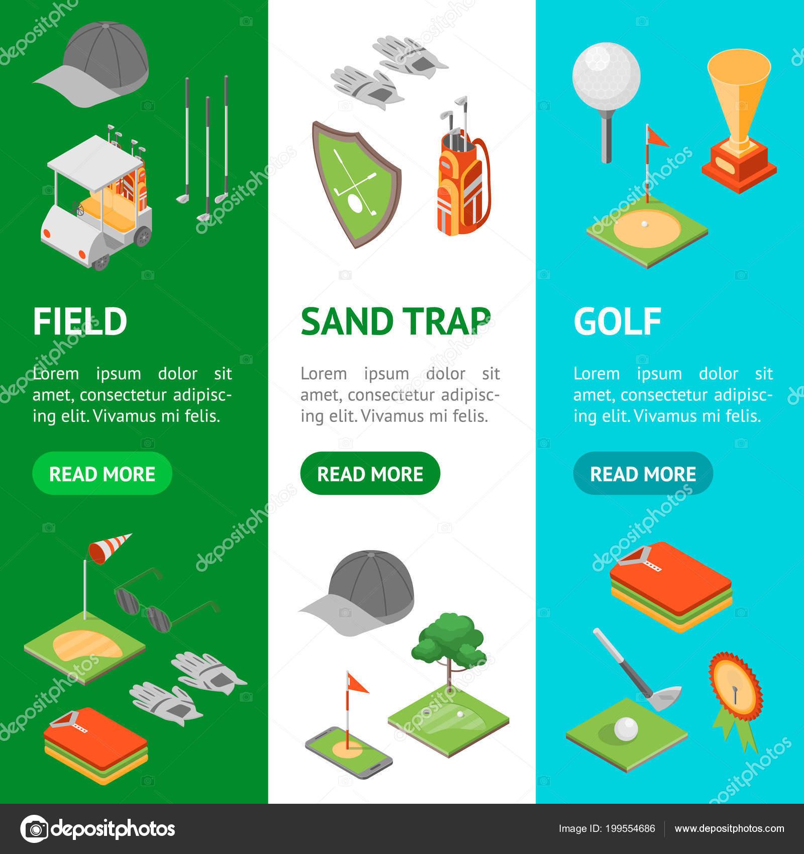 b140155e0 Equipo de juego de golf Banner Vecrtical conjunto vista isométrica son de  bandera